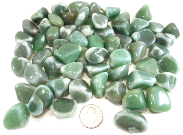 Frosted Aventurine, Tumble Polished, GeoCenter Size - 100 Pieces