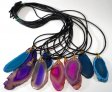 Agate Slice Cord Necklace - 10 Pieces